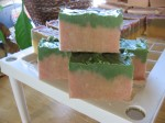 "Winter candy apple ""natural goats milk soap"" on the cure rack"