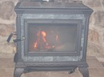 """fire in new wood stove"""