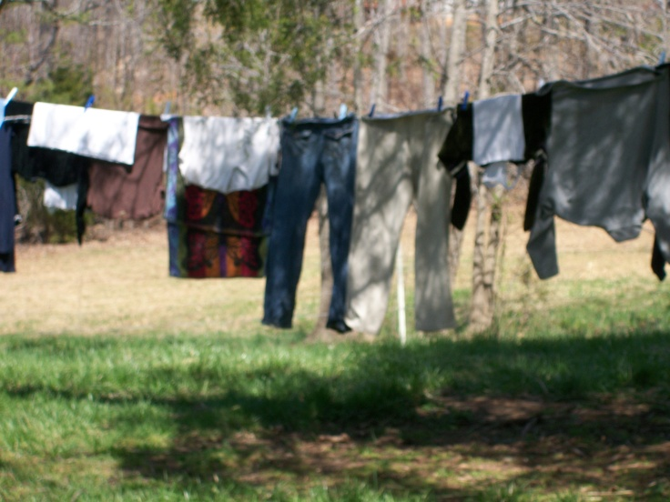 clothes drying in the spring air